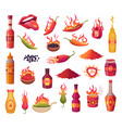 hot peppers burn flame from green and red pepper vector image