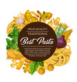 italian pasta and spaghetti food with spices vector image vector image
