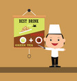 kids chef with some food menu as background vector image