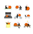 lover basketball set man and ball in movie vector image vector image