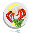 meat crab with rosemary and lemon on the plate vector image vector image