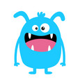 monster blue silhouette cute cartoon kawaii scary vector image vector image