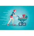 Mother skateborading with pram Woman stroller vector image vector image