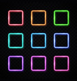 neon light banners set halogen or led lamp square vector image