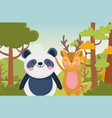 panda and deer trees nature forest landscape vector image