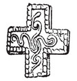 pendent with a cross pendant vintage engraving vector image vector image