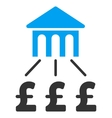 Pound Bank Structure Flat Icon Symbol vector image vector image