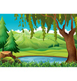 Scene with mountains and pond vector image vector image
