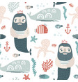 seamless childish pattern ocean king and undersee vector image