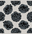 seamless pattern with hand drawn stylized peony vector image