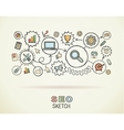 SEO hand draw integrated icons set on paper vector image