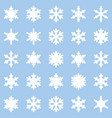 set different winter snowflakes blue white vector image