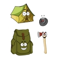 Set of cartoon camping and hiking icons vector image