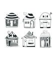Set sketch black and white outline houses in vector image vector image