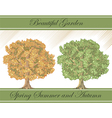 Spring and autumn detailed trees vector image