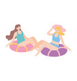 summer time vacation tourism women sitting on vector image
