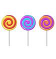 swirl lollipops colored sugar candies vector image