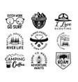 vintage camp logos mountain badges set hand vector image vector image
