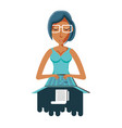 woman with laptop and paper receipt vector image vector image