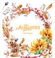 autumn flowers bouquet card vector image vector image