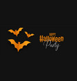 black halloween banner with yellow origami bats vector image