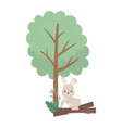 camping cute rabbit trunk tree foliage sun cloud vector image vector image