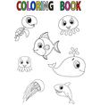 Cartoon fish coloring book vector image