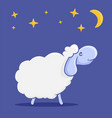 character sheep cute night card for concept vector image