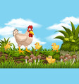 chickens in jungle scene vector image vector image