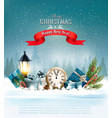 christmas background with a lantern vector image vector image