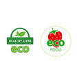 circle label eco food with red strawberry on white vector image vector image