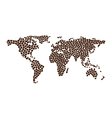 Coffee map design from coffee beans vector image