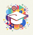 College graduation icon school concept color shape vector image