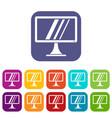computer monitor icons set vector image vector image