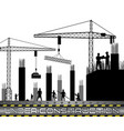 construction workers with cranes vector image vector image