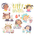 cute little girls with easter theme happy easter vector image