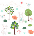 cute rabbits in the forest seamless pattern vector image vector image