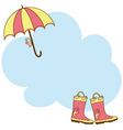 cute rain boots umbrella vector image