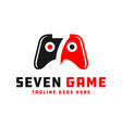 game stick logo with number seven vector image vector image