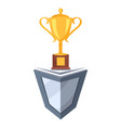 golden cup prize icon on stand vector image vector image