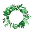 green leaves circle frame vector image vector image