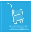 Hand truck sign White section of icon on vector image vector image