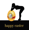 happy easter with girl and egg vector image