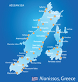 Island of Alonissos in Greece map vector image vector image
