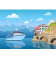 landscape with great cruise liner near coast with vector image vector image