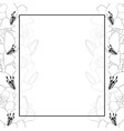lily and iris flower outline banner card border vector image