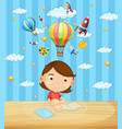 little girl reading book on table vector image vector image