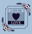 love floral seal card design vector image