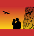 lovers in airport at sunset vector image