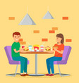 man and woman couple eat fast food in cafeteria vector image